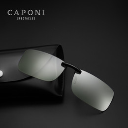 clip flip sunglasses 2019 - Caponi Square Photochromic anti blue-light Clip On Sunglasses Unisex Driving computer Transpare glasses For Flip Up JP11