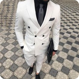 ivory mens slim fit suits Australia - Custom Made White Mens Suits 2Piece Latest Designs Ivory Groom Wedding Suits for Men Blazers Slim Fit Formal Male Business Suit Plus size