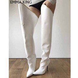 Open tOe bOOts stilettO online shopping - New Fashion Women Winter Over The Knee Boots Pointed Toe Sexy Stiletto High Heel White Leather Party Shoes Woman Thigh High Boot