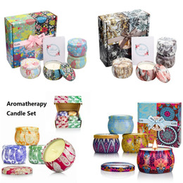 Aromatherapy Gifts Australia - Aromatherapy Candle Set 4pcs set Tin Can Soy Wax Candles Wedding Birthday Party Shower Favor Candle with Gift Box