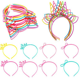 Discount sexy white hair - 1pc Unicorn Cat Ears Headbands baby Girl Kids Women Plastic Crown Hairbands Princess Sexy Halloween Easter Accessories H