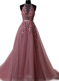 Beaded halter floral dress online shopping - Flowers Appliqued Halter Prom Dresses Long Beaded Floral Tulle Gown Backless Formal Evening Event Gowns Bridesmaid
