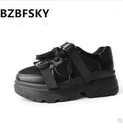 Discount thick rubber soled shoes - BZBFSKYLeather Mesh Women's Platform Chunky Sneakers 2019 Fashion Buckle Women Flat Thick Sole Shoes Woman 35--39
