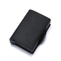 $enCountryForm.capitalKeyWord UK - Weduoduo Metal Aluminium Men Holder With RFID Blocking High Quality Genuine Leather mini Wallet