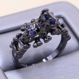 punk rings Australia - Vintage Punk Jewelry 10KT Black Gold Filled Round Cut Blue Sapphire Gemstones Simulated Diamond Party Wedding Women Skull Ring Gift Size5-11