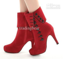 $enCountryForm.capitalKeyWord NZ - Charm2019 Sexy Elegant Cheap Womens Boots With Button Add Plush Inside Adorable High Heels Boots Red Black