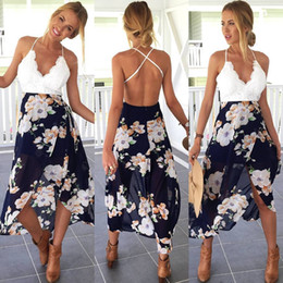 Wholesale girls night dresses for sale – plus size Backless Floral Print Chiffon Dress Patchwork Lace V Neck Open Back High Low Beach Summer Girls Casual Long Maxi High Low Dress
