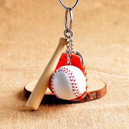 bat balls UK - 100Pcs Mini Three-piece Baseball glove wooden bat keychain 4 colors sports Car Key Chain Key Ring Gift For Man Women Christmas present