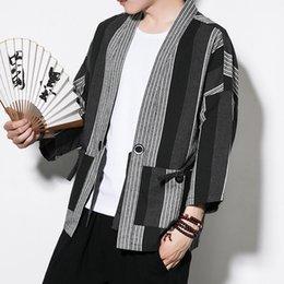 Diamond Stitch Jacket Australia - #4319 Striped Cotton Linen Kimono Coat Vintage Open Stitch Plus Size 5XL Mens Jackets And Coats Black White Kimono Cardigan Men #384887