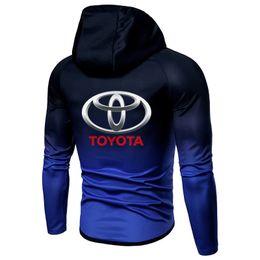 ToyoTa car logos online shopping - Spring Autumn Zipper Jacket Hoodies toyota car Print logo Gradient clothes Fleece Long Sleeve Hoodie Men women Sweatshirt hoody
