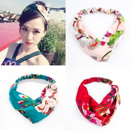 fdd05867988 Women Girls Summer Bohemian Headband Floral Print Boho Hair Bands Print  Retro Cross Turban Bandanas Hair Accessories Head wrap