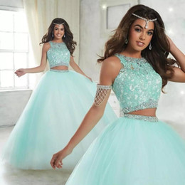 $enCountryForm.capitalKeyWord NZ - New Two Piece Lace Ball Quinceanera Dresses 2019 Crew Neck Floor Length Long Appliques Lace Sweet 16 Prom Dresses with Zipper Back