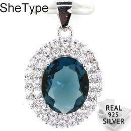 London pendants online shopping - 24x15mm g Created London Blue Topaz Rhodolite Garnet White CZ Real Solid Sterling Silver Pendant