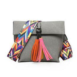 Bag Hand Korean Style Australia - Korean Style Women Elegant Shoulder Bag Fashion Simple Matte Pu Diagonal Ladies Crossbody Hand Bags With Tassels Ribbon Handbag