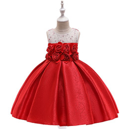 $enCountryForm.capitalKeyWord Australia - Hot Sale A-Line Red Girls Birthday Party Dresses with Handmade Flower Little Girl Pageant Dresses Gowns Elegant Flower Girl Dresses