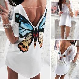 Cat Lady T Shirt Australia - Trendy Sexy Cat Butterfly Print Women T Shirt Deep V Backless Tops Casual Short Sleeve Ladies Fashion Cartoon T-Shirt Tops~