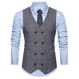 suits blazers pattern Australia - MJARTORIA Men Double Breasted Suit Vests Gentlemen Casual Business Sleeveless Waistcoat Vintage Blazers Vest For Wedding Party