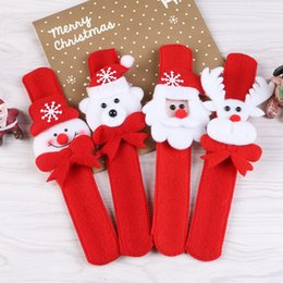 Santa wriStbandS online shopping - 4 styles Christmas Slap Bracelets Santa Claus Elk Bear Snowman shaped felt Clap Wristband Kids Xmas Party festivals gifts accessories