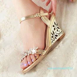sexy gold wedges Canada - REAVE CAT New arrival Glittering Fashion Fretwork Heels Wedges sandals Rhinestone Silver Gold Summer sandals Sexy Sale c12