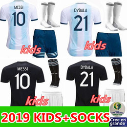 Wholesale Copa America kids Argentina home football shirts adult child KITS Argentina MESSI AGUERO DI MARIA HIGUAIN soccer jersey