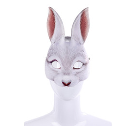 White Cosplay Ears UK - Free Shipping Cospty 3D Party Animal Realstic EVA Black And White Adult Anime Face Cosplay Masquerade Bunny Ears Rabbit Mask