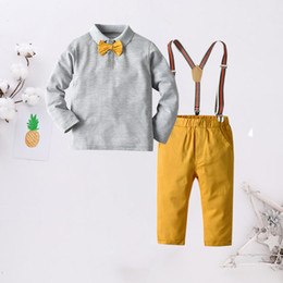 boys polo shirts wholesale Australia - Small Boy T-shirt+tie+suspender+pant Kids Four Piece Set Long Sleeve Polo Sets Gentry Children Suits Spring Autumn Toddler Clothes