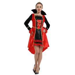 woman vampire halloween costumes Australia - HUIHONSHE Adult Women For Halloween Carnival Cosplay Christmas Vampire Queen Party Red Black Dress Long sleeve Costume