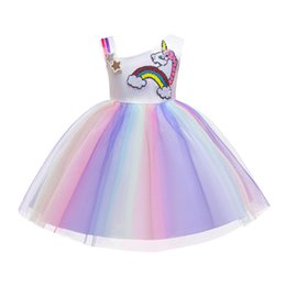Sequined Tutu Australia - Girls Princess Dresses Kids Ball Gown Tutu Bubble Wedding Dress Unicorn Beaded Sequined Bow Asymmetrical Strap One-piece
