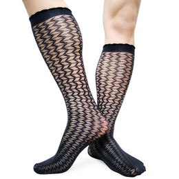 bc4c02365be Wave line Striped Mens Silk Socks Kneel High Thin Sheer Softy Formal Dress  Gay Male Sexy Socks Stocking Fetish Collection Hose