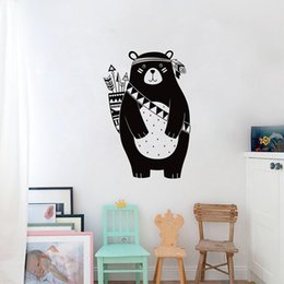 Black Wall Decal Stickers Australia - Tribal Bear Wall Decal Woodland Animal Bear Wall Sticker For Kids Room Tribal Nursery Wall Sticker Home Decoration Vinyl Mural