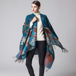 Diamond Forks Australia - Indian geometric diamond lengthening and thicker cashmere-like national wind travel open-forked shawl Cloak