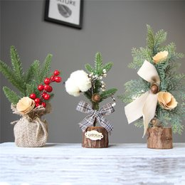 christmas tables NZ - Christmas Decorations For Home Table Mini Christmas Tree Ornament Gift Decoration Party Navidad Wholesale 30MAY0