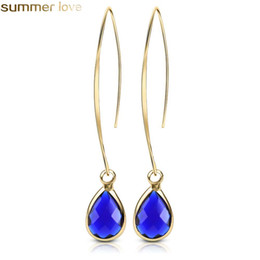 Discount red rhinestone earrings - New Arrival Water Drop Earrings Bule Red Crystal Dangle Earring For Women Gold Plated Fashion Jewelry