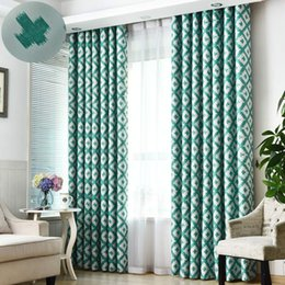 modern grommet curtains Australia - Jarl home Modern Grid Green Blackout Curtains with Grommet 1 Piece Lattice Print Darkening Window Curtain for Living Room Polyester Fabric