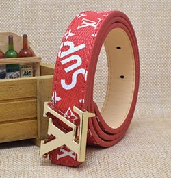af6b85b84 Lo nuevo SUP + V moda marca caliente hebilla niños cinturón diseñador de  lujo PU niños cinturones chicos chicas alta marca ocio cinturones