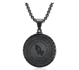white gold coins NZ - 2019 New Unisex 29mm Pendant Necklaces Vintage Mens Gold Link Chain Titanium Steel Round Coin Scripture Necklaces Jewelry Gift Free Shipping