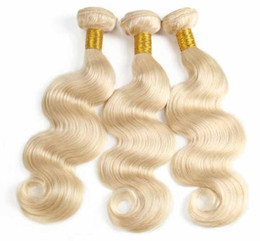 human hair weave mixed blonde Australia - 9A Brazilian 613 Blonde Wefts Peruvian Virgin Hair 613 Blonde Straight Human Hair Weaves Straight body wave Human Hair Wefts
