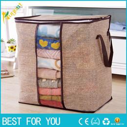 Storage Beds Australia - New Hot Non-woven Portable Clothes Storage Bag Organizer 45.5*51*29cm Folding Closet Organizer For Pillow Quilt Blanket Bedding