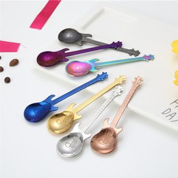 Colorful Guitars NZ - Creative stainless steel guitar shape small spoon Coffee stirring spoons Titanium ice bar music bar Colorful gift spoon