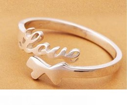 "worded rings NZ - Hot! ""Love"" Word 925 sterling silver Ring Open adjustable size Don't fade Factory direct selling high quality Wedding Ring Bi"