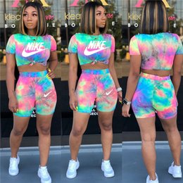 Crop gowns online shopping - Women Two Piece Set Sports Suit T shirt Skinny Shorts Short Sleeve Outfits Crop Top Tracksuit Pullover Letter Summer HOT Selling955