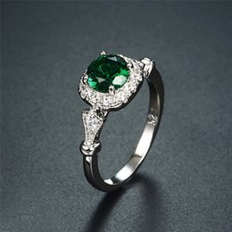 $enCountryForm.capitalKeyWord NZ - Brand Designer Fashion Women Emerald Ring 925 Silver Wedding Engagement Ring Luxury Green Gemstone Ring Jewelry