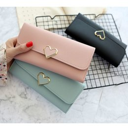 Discount mobile phone decorations - new wallet purse lychee pu heart-shaped decoration long multi-card position buckle mobile phone student women's wal
