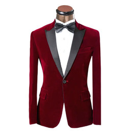 Beige Slim Suits For Men Australia - Burgundy Corduroy Groom Suits 2019 One Button Peaked Lapel Slim Fit Man Suit For Prom Wedding Tuxedos (Jacket+Bow)