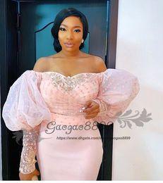 Discount plus size red peplum dress - 2019 Nigerian lace long sleeve evening dresses off the shoulder Puff sleeve elegant beaded african arabic formal celebri
