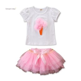 Ice cream skIrts online shopping - Baby Girl TUTU Skirt Infant Girl Solid Color Lace Ice Cream Short Sleeve Tops T Shirt Elasticated Bow Mesh TUTU Skirt Two Piece Set