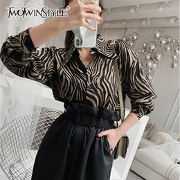 49fd6381a34 TWOTWINSTYLE Vintage Striped Shirts Blouse Women Lapel Collar Long Sleeve Tops  Female Korean Clothes 2019 Spring Fashion