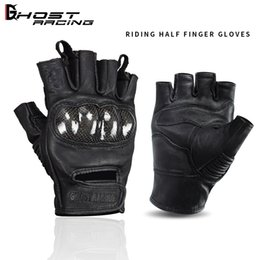 Leather Half Gloves Australia - Brand Summer breathable leather racing off-road gloves riding gloves motorcycle half finger gloves cycling gloves winproof black