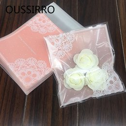 $enCountryForm.capitalKeyWord Australia - 25PCS Lot Lovely Pink Lace Gifts Bags Christmas Cookie Packaging Self-adhesive Plastic Bags Jewelry Biscuits Candy Cake Package D19011702
