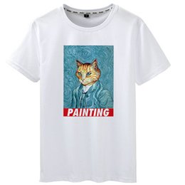 $enCountryForm.capitalKeyWord Australia - Painting t shirt Cat van Gogh short sleeve tees Self portrait gown tops Fadeless print clothing Pure color colorfast modal tshirt
